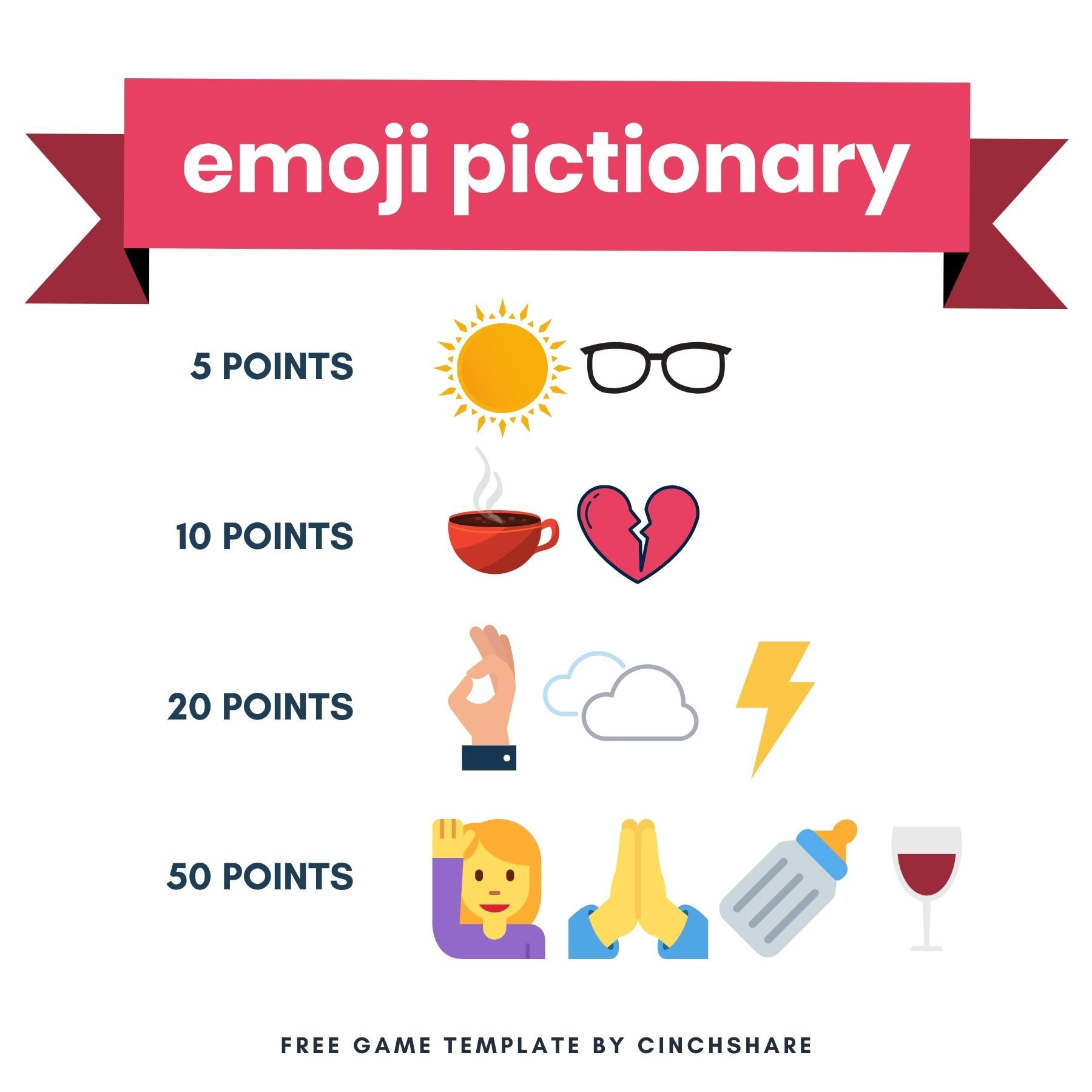 Social Media Facebook Engagement Games by CinchShare Emoji Pictionary