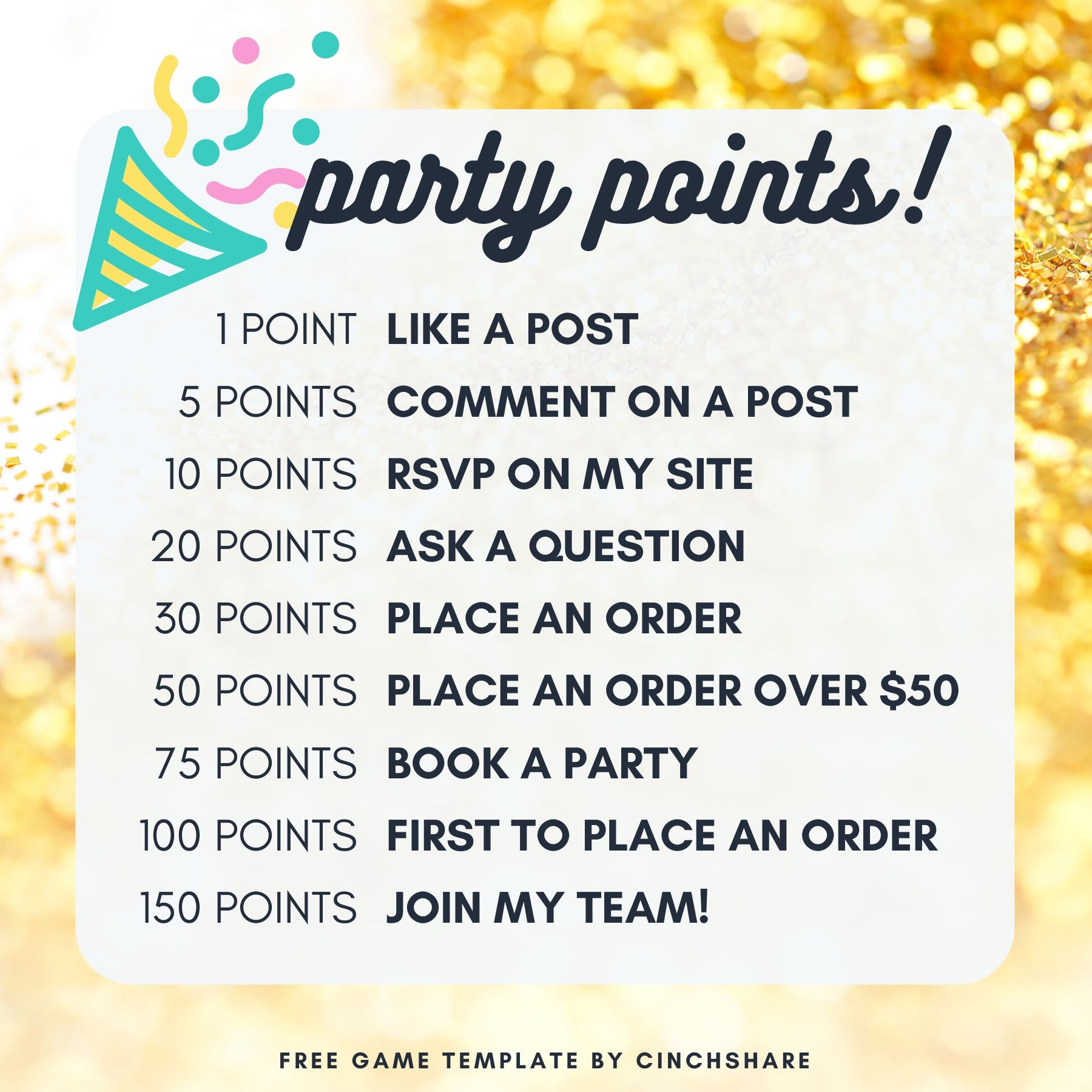 Social Media Facebook Engagement Games by CinchShare Party Points