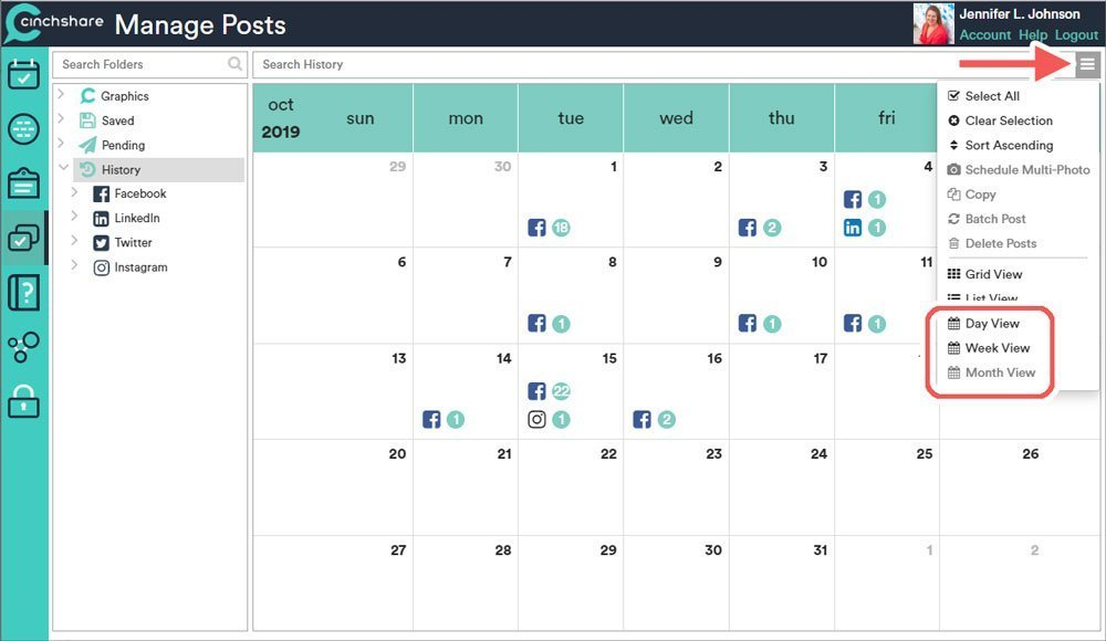 Viewing Pending and Historical Posts in Calendar View