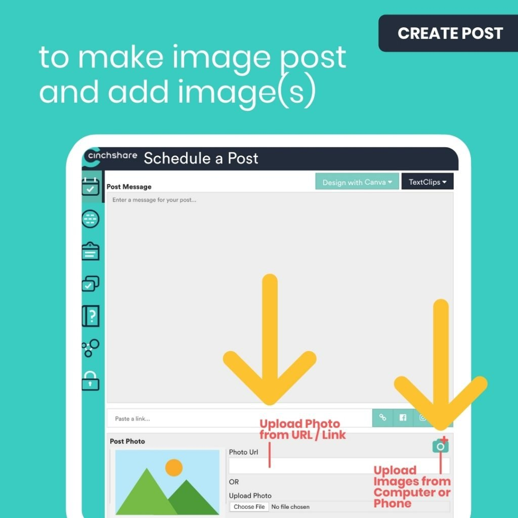 How to add images to CinchShare post